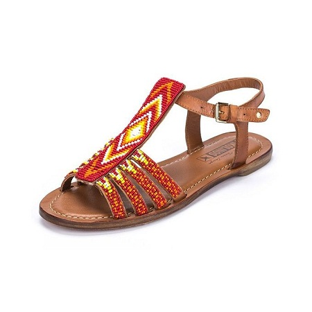 Fashion Ladies Beaded Leather Sandals - Brown
