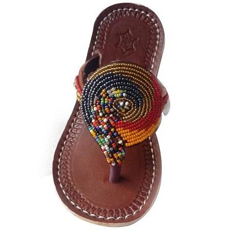 Fashion Ladies Beaded Maasai Sandals - Brown