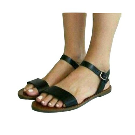 Fashion Leather Open Toe and Ankle Strap Buckle Flat Sandals - Black