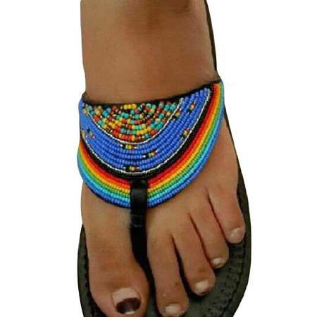 Fashion Ladies Maasai Leather Sandals - Black