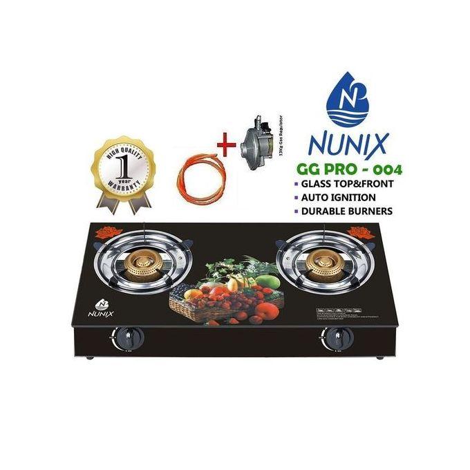 Nunix Tampered Glass Table 2 Burner Gas Stove + Pipe & Regulator