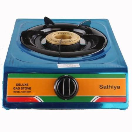 Sathiya Gas Stove, Single Burner, Non Stick - Grey