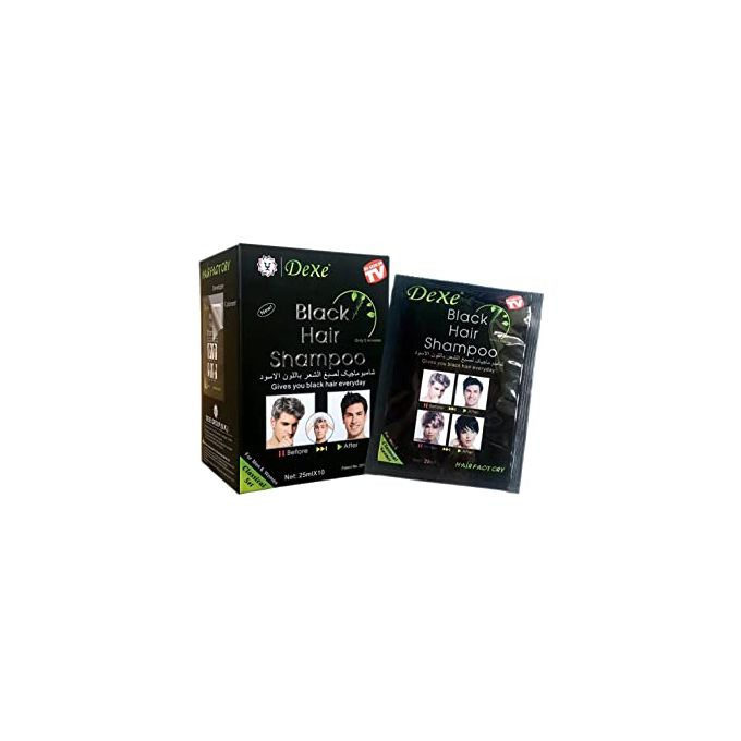 Dexe Black Hair Shampoo -Instant Black Hair Dye - (25ml X 10)