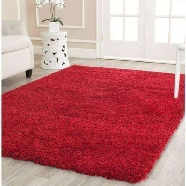 Fluffy Smooth Carpet For Living Room Red 5*8