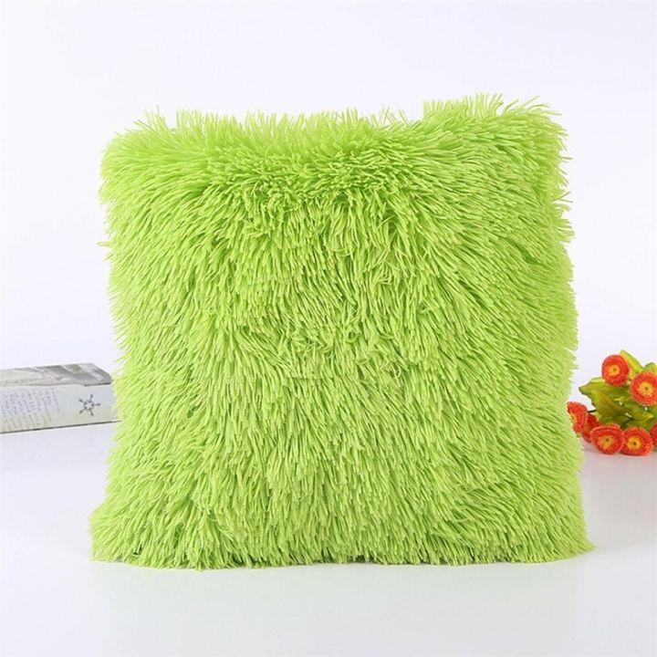 Decorative Fluffy Plush Throw Pillow Case Cushion Blue 5pc