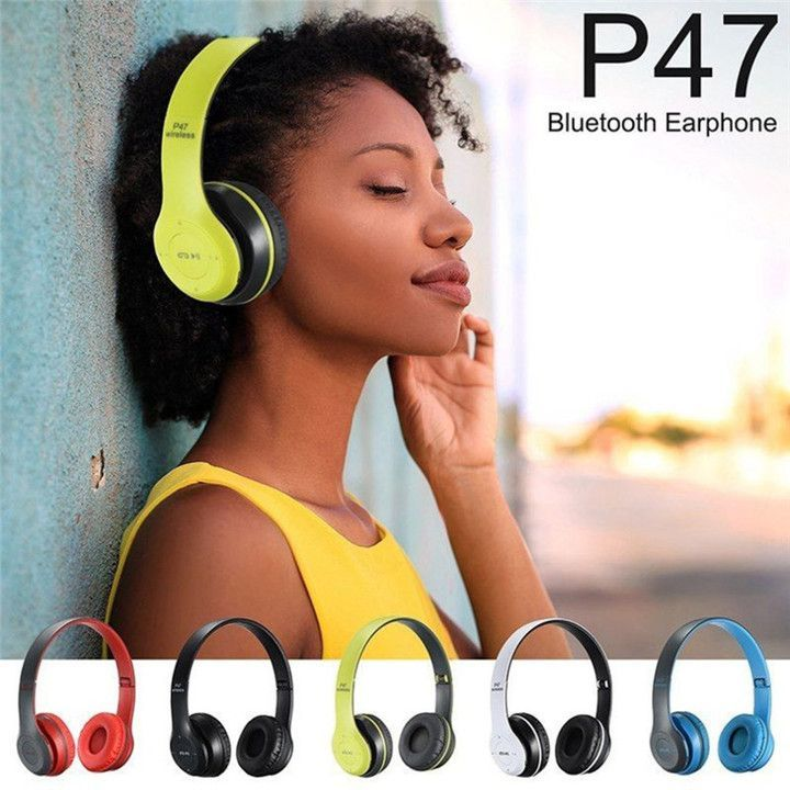 Wireless Bluetooth Headphones P47/ Stereo Bass With TF Radio Mic 3.5 jack pin for IOS/Android Black Black