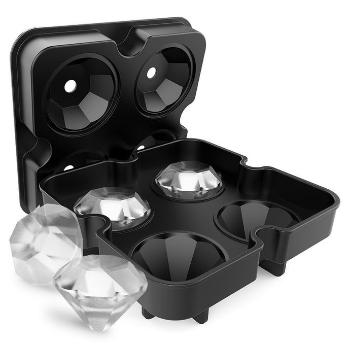 Generic silicone Ice Cube Tray Mold Diamond Shape 4 Grids Maker