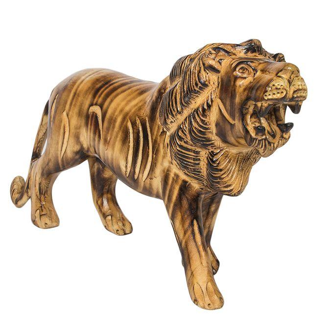 Wooden Growling Lion