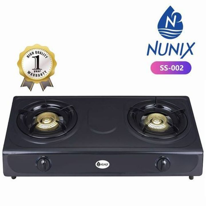 Nunix Stainless Steel Table Double Burner Gas Cooker Black