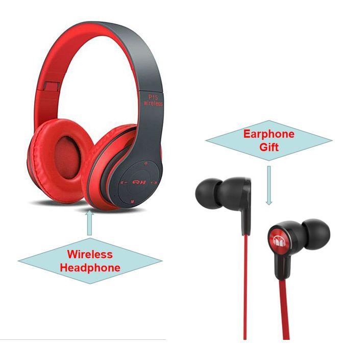 Generic P15 Headphone Wireless Earphone+Earphone