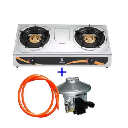 Stainless Steel Double Burner+ 13kg gas regulator + 1m gas pipe