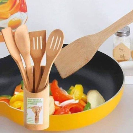 Wooden cooking spoons + 1 holder