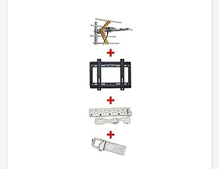 Digital Aerial, 14 Inch-42 Inch TV Wall Bracket Free 4 Way Extension Socket, 32 HP Flash Disk