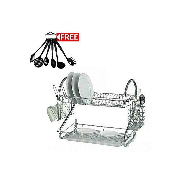 Dish Rack Medium Size With A FREE Set Of 6 Non-Stick Cooking Spoons