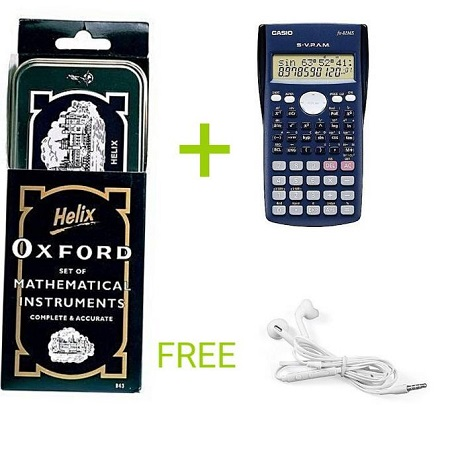 KCSE/KCPE EXAM PACK (Oxford Geometrical Set + Calculator with FREE EARPHONES)