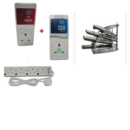 MK TV Guard, Fridge Guard, 4 Way Extension Cable and a Remote Holder
