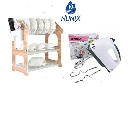 Nunix 3 Layers Dish Rack + Hand Held Electric Mixer