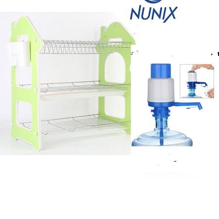 Nunix 3 Layers Dish Rack with a Free Hand Press Water Dispenser Pump