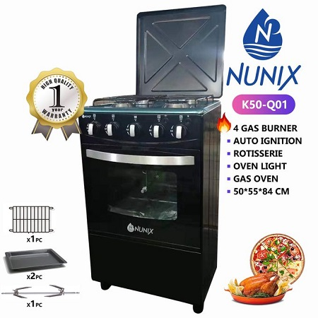 Nunix K50-Q01 - 4Gas Burners, Rotisserie, Auto Ignition 50*55cm Free Standing Cooker