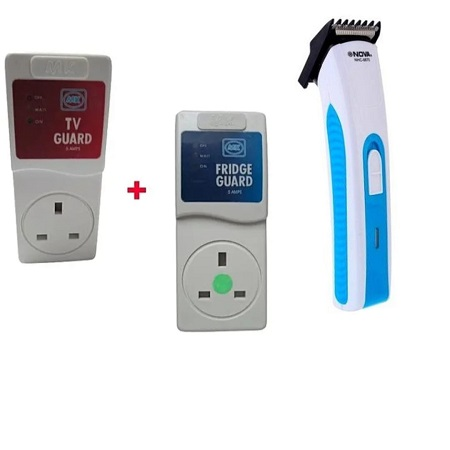 Tv Guard, Fridge Guard and Nova Rechargeable Shaver (White And Blue)
