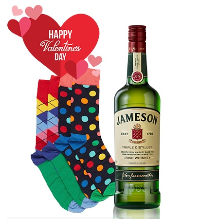 Valentines Gift Package- Jameson Whiskey and 3 pairs of Happy Socks