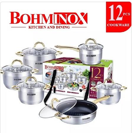 Bohminox Cookware Set Heavy Duty silver 12pcs