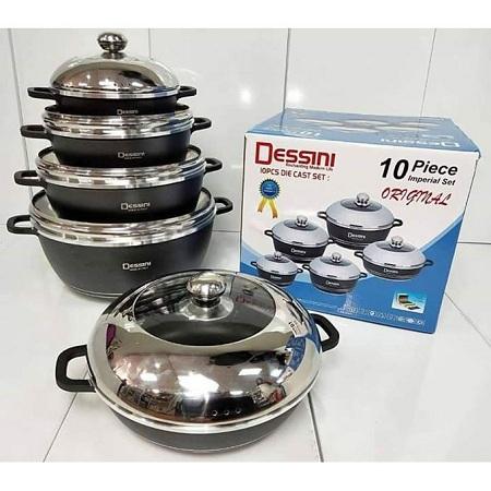 Dessini Non-Stick Cooking Pots Cookware set grey 10pcs