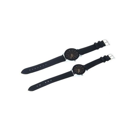 Fashion 2 Men And Women Quartz Dial Clock Leather Wrist Watch Black