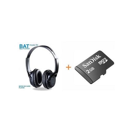 BAT Music SD Card Headphones FM & 2Gb Sd Card