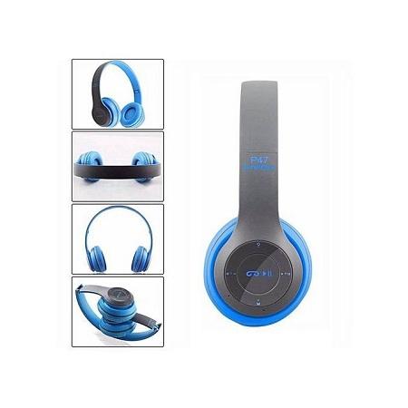 P47 Bluetooth 5.0 Headphone Wireless Earphone Hands Free Music Headset-Blue