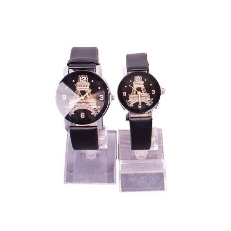 Fashion Couple Wrist Watch Casual PU Leather Round Dial Watch-Black