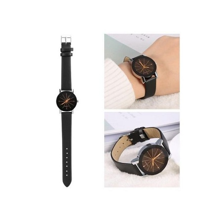 Fashion Ladies Quartz Wristwatch Analog Round PU Band