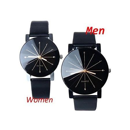 Fashion Pair Of Couple Wrist Watch Leather - FREE Gift Box
