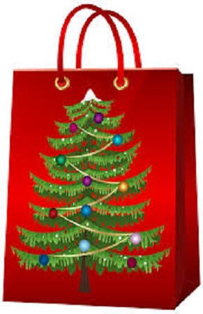 42 X 32 X 11.5 cm Paper Gift Bag, Red, Merry Christmas Glittered