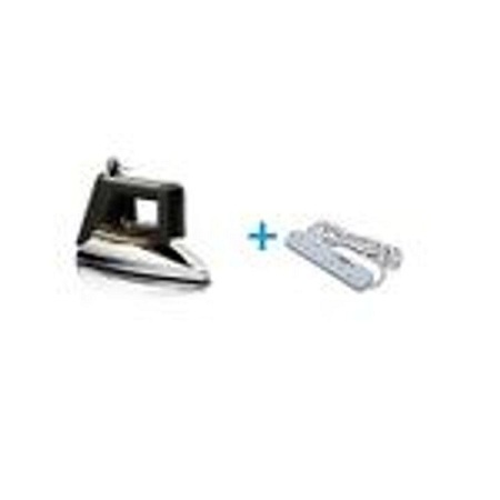 Redberry Dry Iron Box + Free Heavy Duty Power Extension Cable Silver