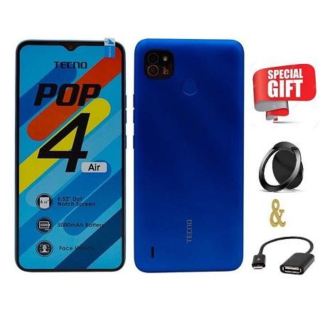 Tecno Pop 4 Air,(16+1)GB,5000MAH,FINGERPRINT SENSOR,5mp,Dual,3G -_ BLUE+FREE OTG&RING