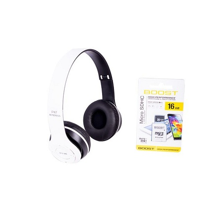 P47 Wireless Foldable Bluetooth Headphones Stereo, Headset with TF card slot,White With Free 16GB Memory