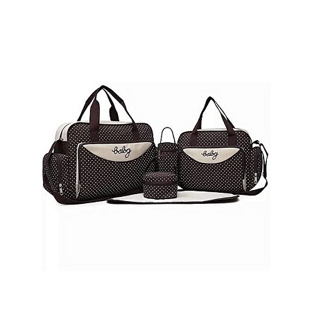 Generic Brown With White Polka Dots 5 In 1 Diaper Bag