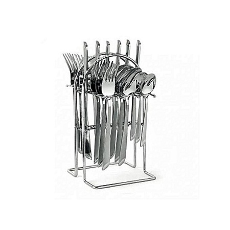 24 pcs Stainless Steel Cutlery Set Cutlery + Rack