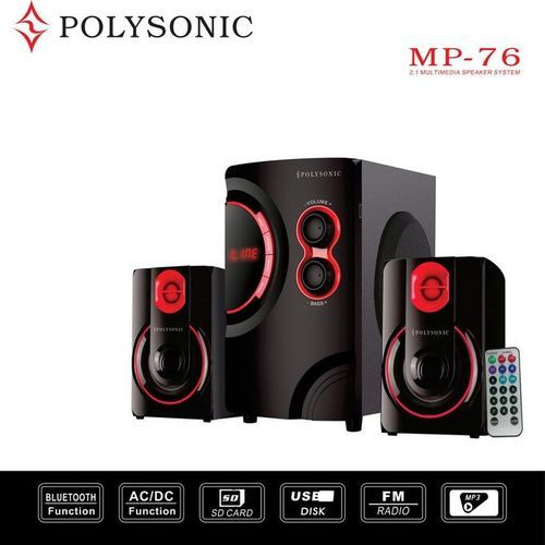 Polysonic MP-76 AC\DC Subwoofer 2.1 Bluetooth, FM Radio pm.po 5500w