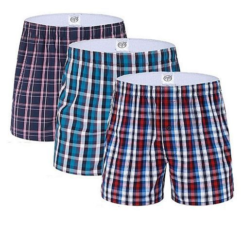 Fashion 3 Pure Cotton Checked Boxers -assorted Colors