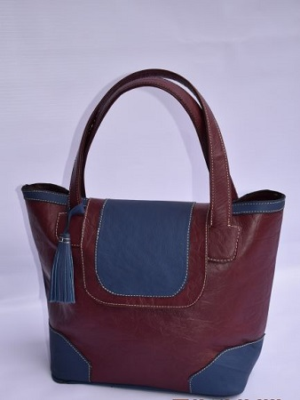 Large Maroon and Blue Tote Bag