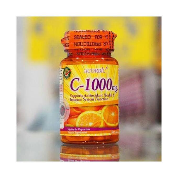 Acorbic 30 Pills Acorbic C 1000 Mg Vitamin C Supplement Bright Clear Faster Whitening Ascorbic Acid