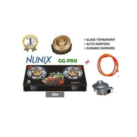 Nunix Classy 2 Burner Glass Table Top + 2M Pipe + Free 13kg Reg
