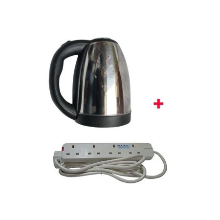 Scarlett Cordless Electric Kettle - 2Litres With 4-way Extension cable - Silver