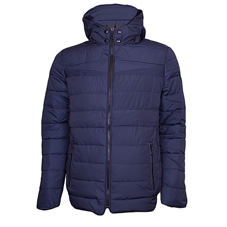 Blue Puff Jacket With Detachable Hood