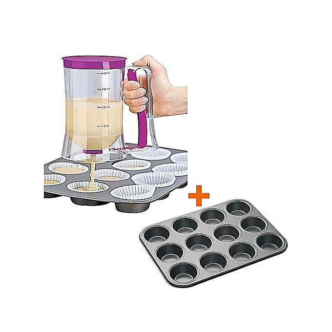 Batter Dispenser Pancake Machine + 12pcs Queen Cake / Cupcake Baking Oven Tray.