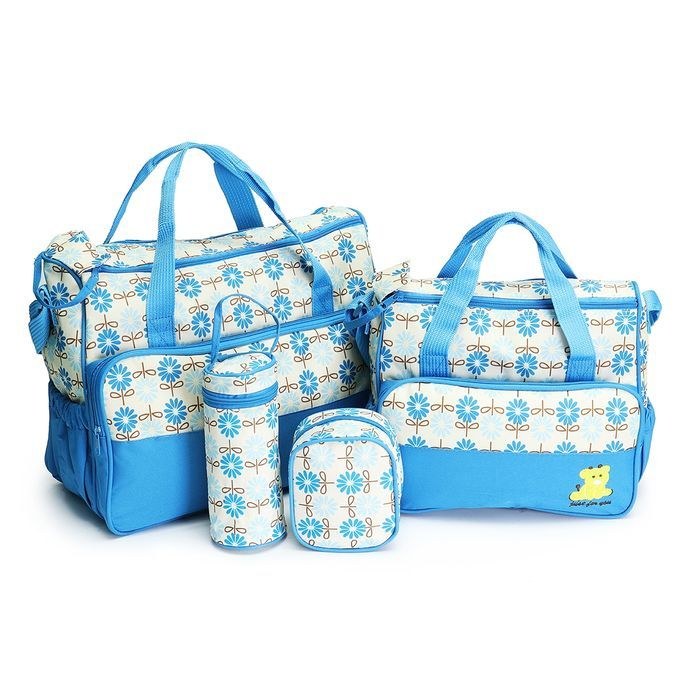 Elegant 5 In 1 Baby Diaper Bag With Changing Pad-Light Blue