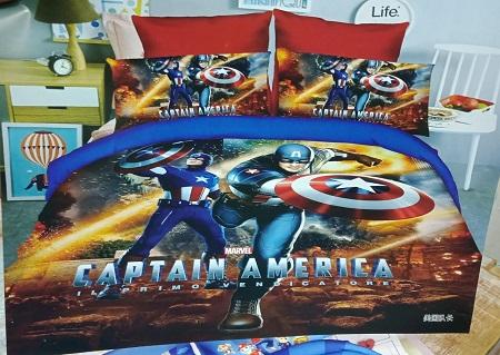 4*6 Kids Cartoon Themed Duvets ( CAPTAIN AMERICA)- Multicolored