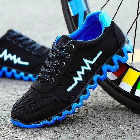 Fashion Men's Shoes Tide Black And Blue Color Trend